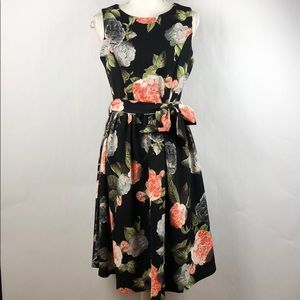 Lindy Bop Floral fit and flare pop on dress NEW 8